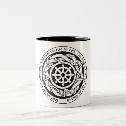 Road to Truth Dharma Wheel Two-Tone Coffee Mug