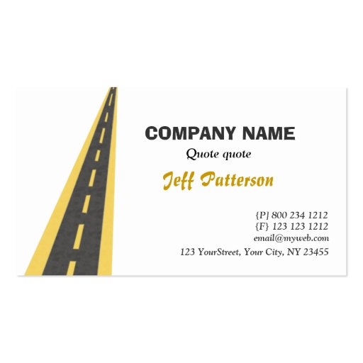 Road Travel Traveling Business Card Template