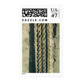 Road trip at the beach Stamp Vertical