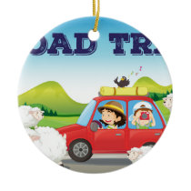 Road trip ceramic ornament
