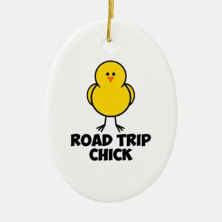 Road Trip Chick Ceramic Ornament