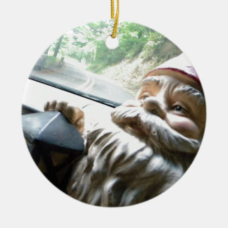 Road Trip Gnome Double-Sided Ceramic Round Christmas Ornament
