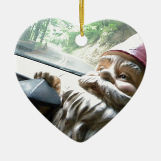 Road Trip Gnome Double-Sided Heart Ceramic Christmas Ornament