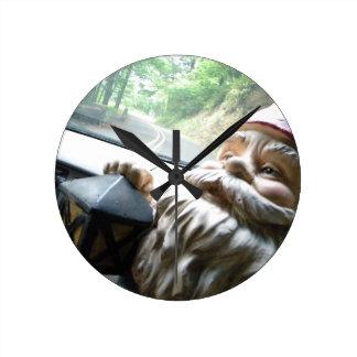 Road Trip Gnome Round Clock