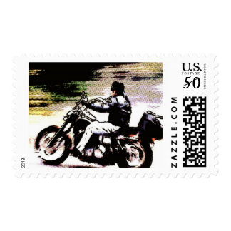 Road trip stamps, guy on a motercycle postage