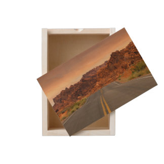 Road trip sunset wooden keepsake box