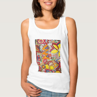 Road Trip Two-Colorful Abstract Art Handpainted Tank Top