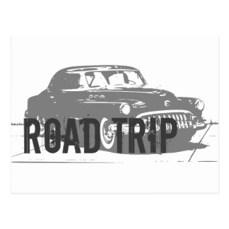 Road Trip Vintage Car Postcard