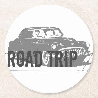 Road Trip Vintage Car Round Paper Coaster