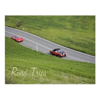 Road trips - sport cars postcard