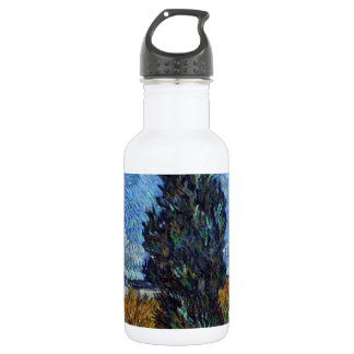 Road with Cypress and Star Stainless Steel Water Bottle