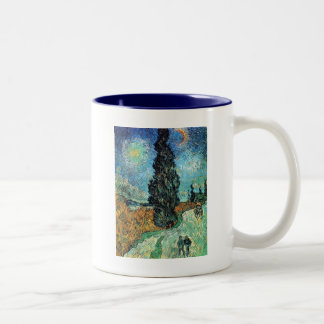 Road with Cypress and Star Two-Tone Coffee Mug
