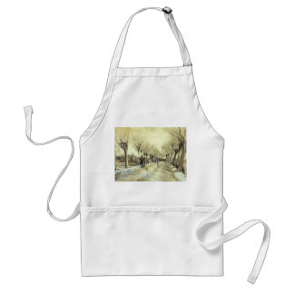 Road with Pollarded Willows and a Man with a Broom Adult Apron