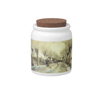 Road with Pollarded Willows and a Man with a Broom Candy Dish