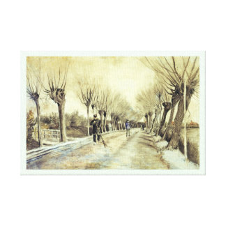 Road with Pollarded Willows and a Man with a Broom Canvas Print