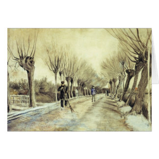 Road with Pollarded Willows and a Man with a Broom Card