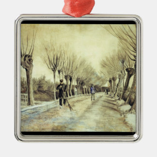 Road with Pollarded Willows and a Man with a Broom Metal Ornament