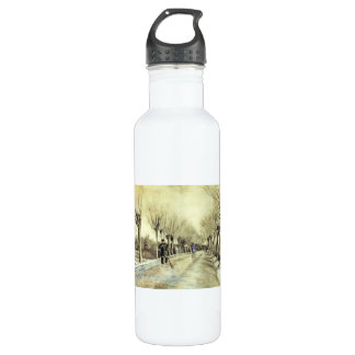 Road with Pollarded Willows and a Man with a Broom Stainless Steel Water Bottle