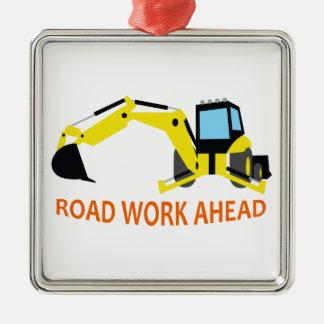 Road Work Ahead Square Metal Christmas Ornament