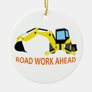 Road Work Ahead Double-Sided Ceramic Round Christmas Ornament