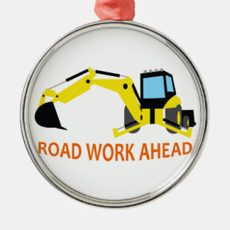 Road Work Ahead Round Metal Christmas Ornament