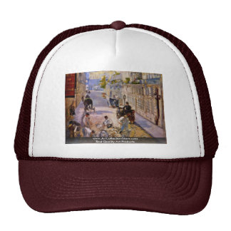 Road Workers Rue De Berne By Manet Edouard Mesh Hats