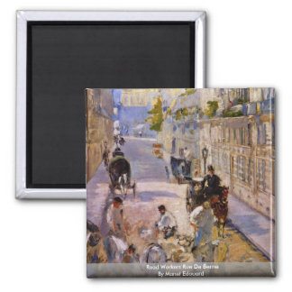 Road Workers Rue De Berne By Manet Edouard Fridge Magnet