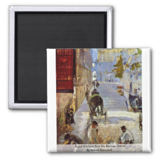 Road Workers Rue De Bernes Detail By Manet Edouard Refrigerator Magnets