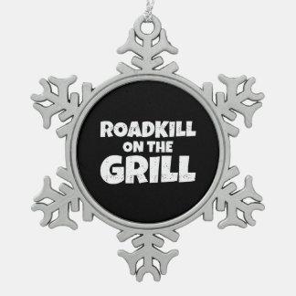 Roadkill en la parrilla - fiesta del Bbq divertido Adorno De Peltre En Forma De Copo De Nieve