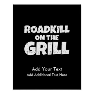 Roadkill on The Grill - Funny BBQ Party Poster