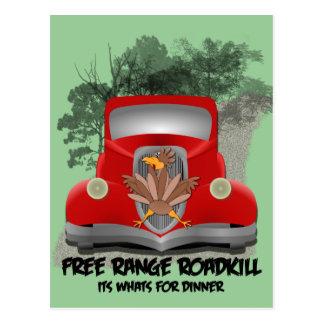 Roadkill para la tarjeta de la receta de la cena postal