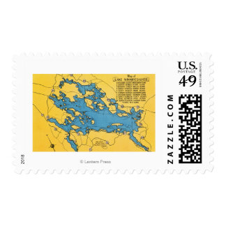 Roadmap of the Lake and Highways Postage