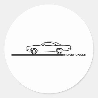 Roadrunner 1968 de Plymouth Pegatina Redonda