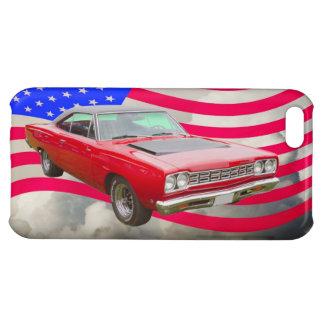 Roadrunner 1968 de Plymouth y bandera americana