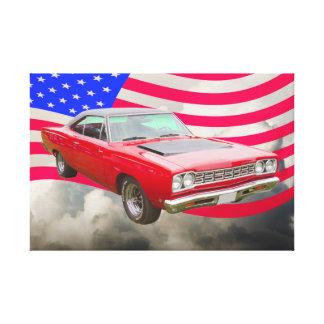 Roadrunner 1968 de Plymouth y bandera americana Impresion En Lona