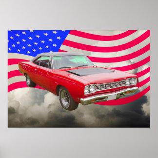 Roadrunner 1968 de Plymouth y bandera americana Póster