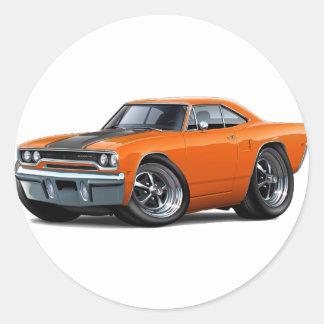 Roadrunner 1970 Naranja-Negro Pegatina Redonda