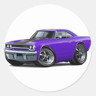 Roadrunner 1970 Púrpura-Negro Pegatina Redonda