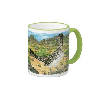 Roadrunner Eating Alien, New Mexico Souvenir! Ringer Mug