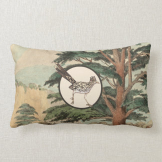 Roadrunner In Natural Habitat Illustration Lumbar Pillow