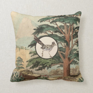 Roadrunner In Natural Habitat Illustration Throw Pillow
