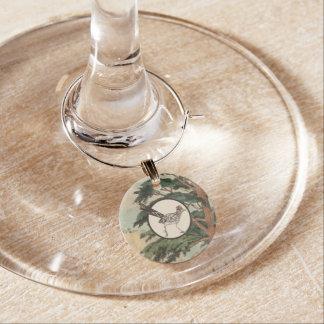 Roadrunner In Natural Habitat Illustration Wine Glass Charm