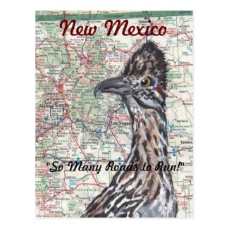 Roadrunner on Map New Mexico Postcard - Fun!