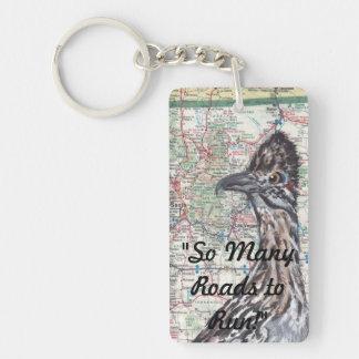 Roadrunner on New Mexico Roadmap Keychain Rectangular Acrylic Key Chains