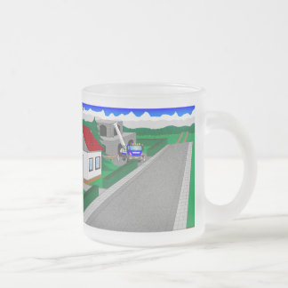 Roads and building of houses frosted glass coffee mug