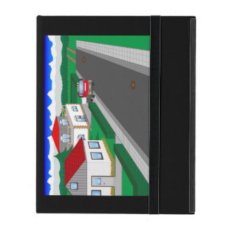 Roads and building of houses iPad folio cases