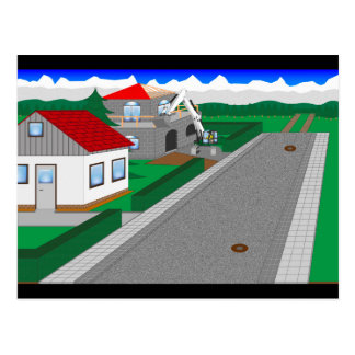 Roads and building of houses postcard