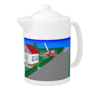 Roads and building of houses teapot