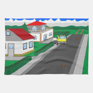Roads and building of houses towel