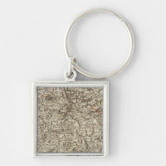 Roads of France Silver-Colored Square Keychain